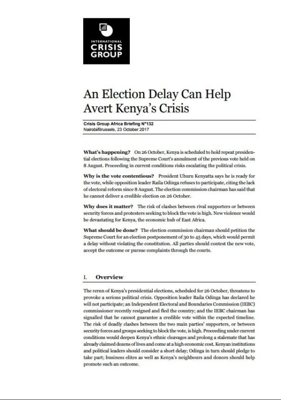 ICG - An Election Delay Can Help Avert Kenya's Crisis